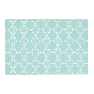 Aqua Blue Quatrefoil Geometric Pattern Placemat