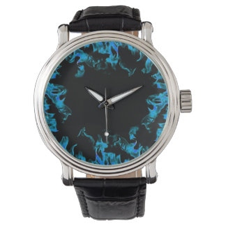 Aqua blue real fire flame vintage style watch