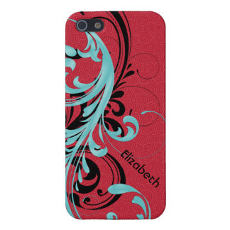 Aqua Blue, Red, Black Wavy Scroll Floral iPhone 5/5S Cover