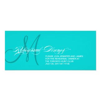 Aqua Blue Rehearsal Dinner Invitation Monogram
