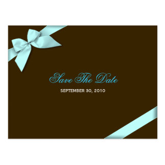 Aqua Blue Ribbon Save the Date Announcement Postcard