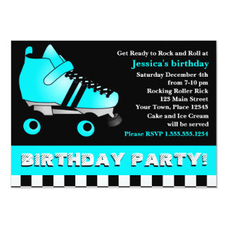 Aqua Blue Roller Skate Birthday Party Card