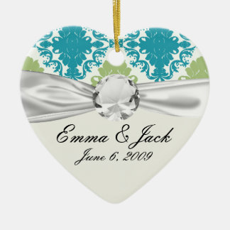 aqua blue sage green white diamond damask ceramic ornament