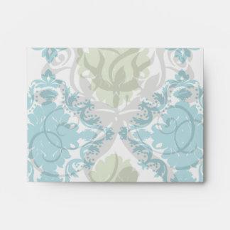 aqua blue sage green white diamond damask envelope