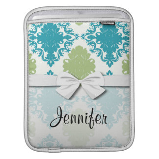 aqua blue sage green white diamond damask iPad sleeve