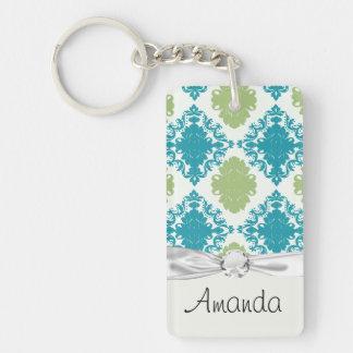 aqua blue sage green white diamond damask keychain