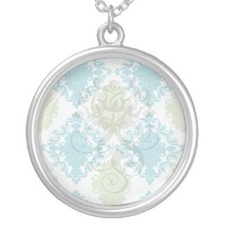 aqua blue sage green white diamond damask round pendant necklace