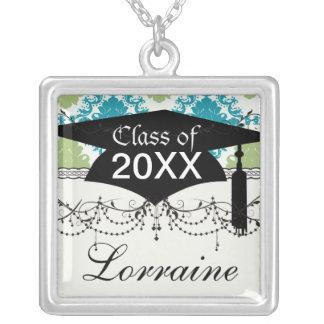 aqua blue sage green white diamond damask square pendant necklace