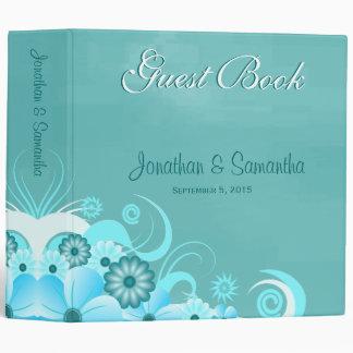"Aqua Blue Saphire Floral 2"" Wedding Guestbooks Binder"