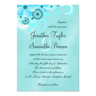 Aqua Blue Sapphire Floral Hibiscus Wedding Invites