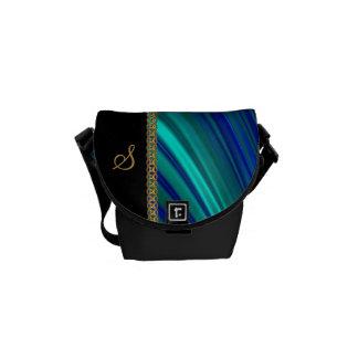 aqua blue satin gold chain courier bag