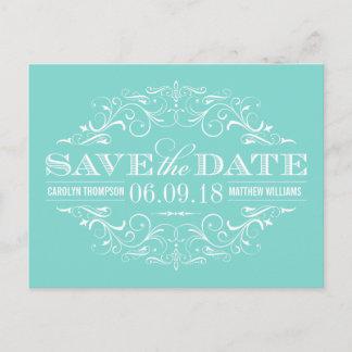 Aqua Blue Save the Date   Swirl and Flourish Announcement Postcard