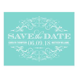 Aqua Blue Save the Date | Swirl and Flourish Postcard