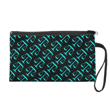 Lawyer Themed Aqua Blue Scales of Justice on Black Wristlet Purse