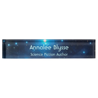 Aqua Blue Science Fiction Author Name Plate