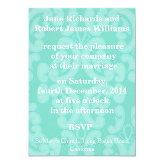 Aqua Blue Sea Green Elegant Wedding Invitation