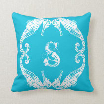 Aqua Blue Sea Horse Monogram Pattern Pillow