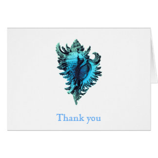 Aqua Blue Sea Shell Thank You Note Cards