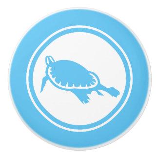 Aqua Blue Sea Turtle Marine Creature ceramic knob