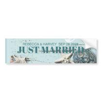 aqua blue seashell beach wedding just married bumper sticker