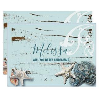 aqua blue seashell will you be my bridesmaid invitation