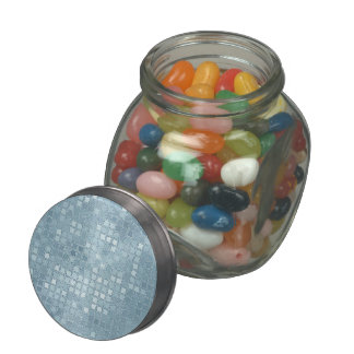 Aqua Blue Sequin Effect Jelly Belly Candy Jar