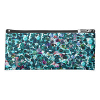 Aqua Blue Sequin Sparkles All Over Print Pencil Case