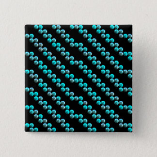 Aqua Blue Sequin Stripes On Black Button