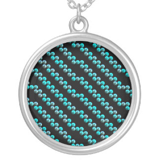 Aqua Blue Sequin Stripes On Black Round Pendant Necklace