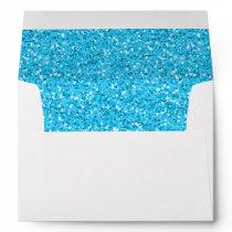 Aqua Blue Shimmer Glitter Envelope