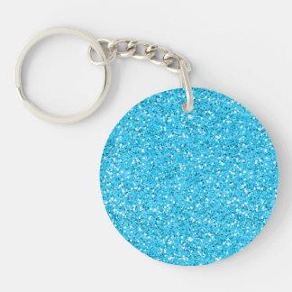 Aqua Blue Shimmer Glitter Keychain