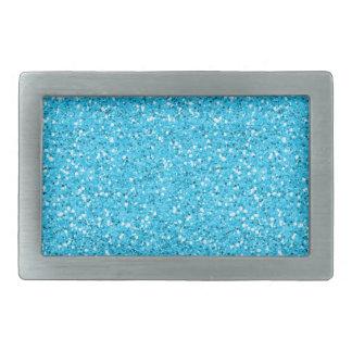 Aqua Blue Shimmer Glitter Rectangular Belt Buckle