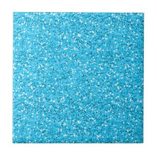 Aqua Blue Shimmer Glitter Small Square Tile