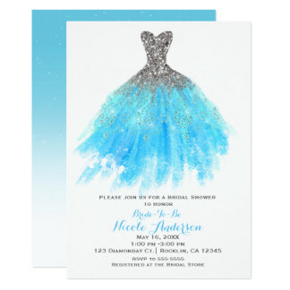 Aqua Blue Silver Glitter Glam Dress Bridal Shower Invitation