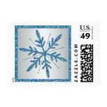 Aqua Blue Silver Glitter LOOK Snowflake Postage