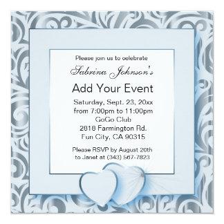 Aqua Blue & Silver Party Celebration | DIY Text Card