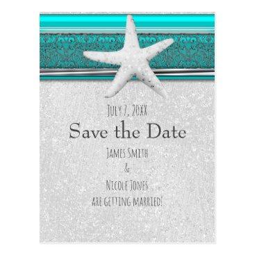 Beach Themed Aqua Blue & Silver Starfish Beach Save the Date Postcard