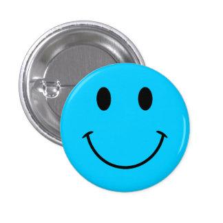 Aqua Blue Smiley Face Button