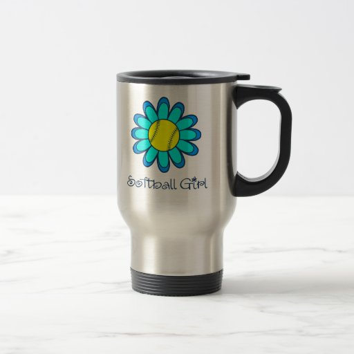 Aqua Blue Softball Girl Coffee Mug