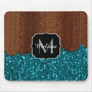 Aqua blue sparkles rustic brown wood Monogram Mouse Pad