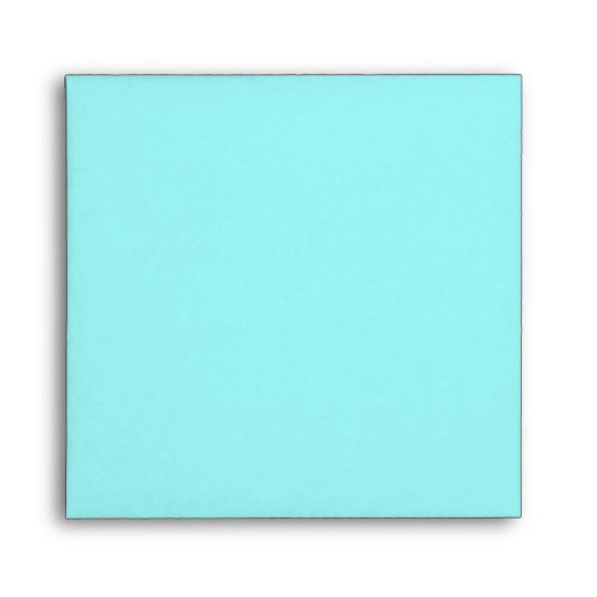 Aqua Blue Square Envelope - Silver Interior