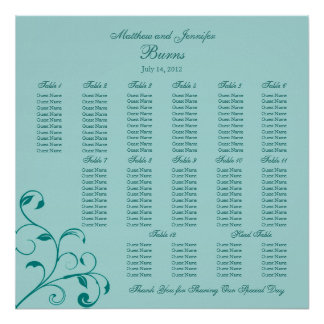Aqua Blue Square Wedding Reception Seating Chart Poster