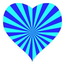 Aqua Blue Starburst Pattern Heart Sticker