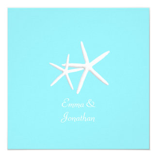 Aqua Blue Starfish Beach Wedding Invitations