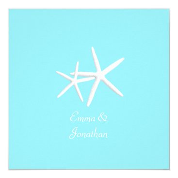 Beach Themed Aqua Blue Starfish Beach Wedding Invitations