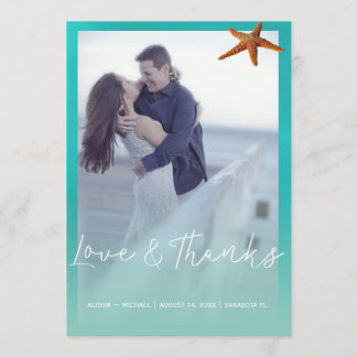 Aqua blue starfish beach wedding thank you photo