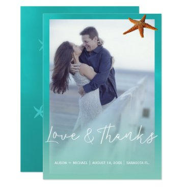 Aqua blue starfish beach wedding thank you photo card