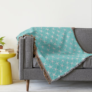 Aqua Blue Starfish Coastal Home Throw Blanket