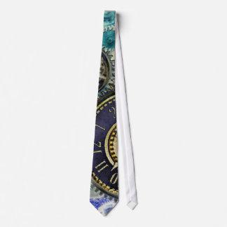 Aqua, Blue steampunk print tie, gears, cogs, clock Neck Tie