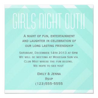 "Aqua Blue Striped Girls Night Out Invitation 5.25"" Square Invitation Card"